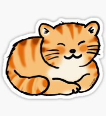 Sleeping orange & white pussy cat Sticker