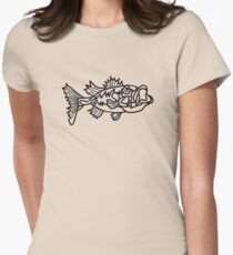 An Angry Large Mouth Bass Women's Fitted T-Shirt