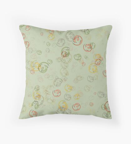 Vintage  Curls  in Sage  Throw Pillow