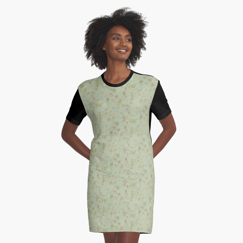 Vintage  Curls  in Sage  Graphic T-Shirt Dress