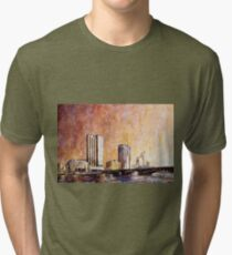 Grand Rapids skyline- Michigan.  Watercolor painting Tri-blend T-Shirt