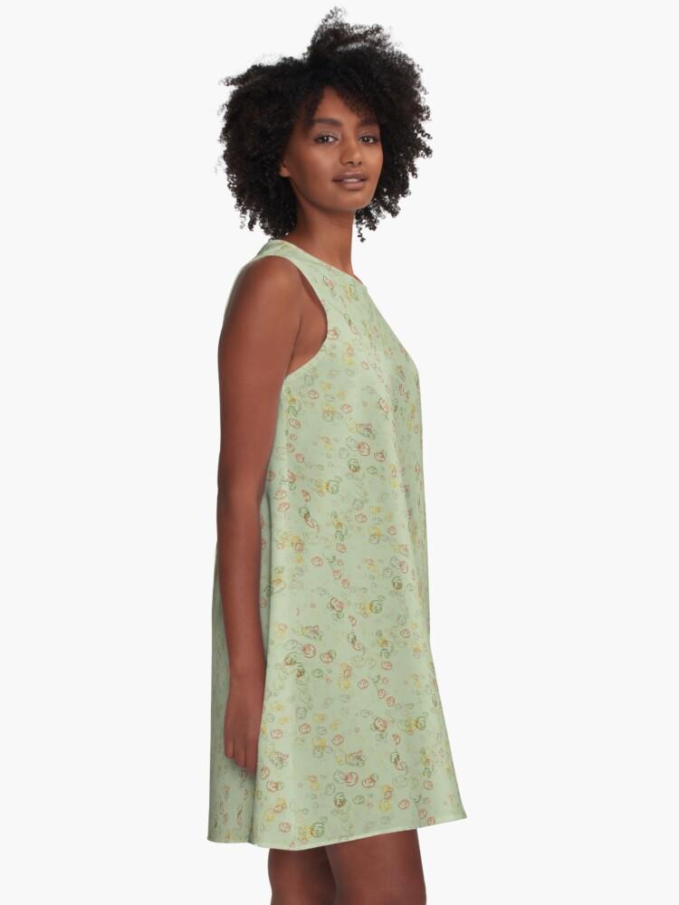 Alternate view of Vintage  Curls  in Sage  A-Line Dress