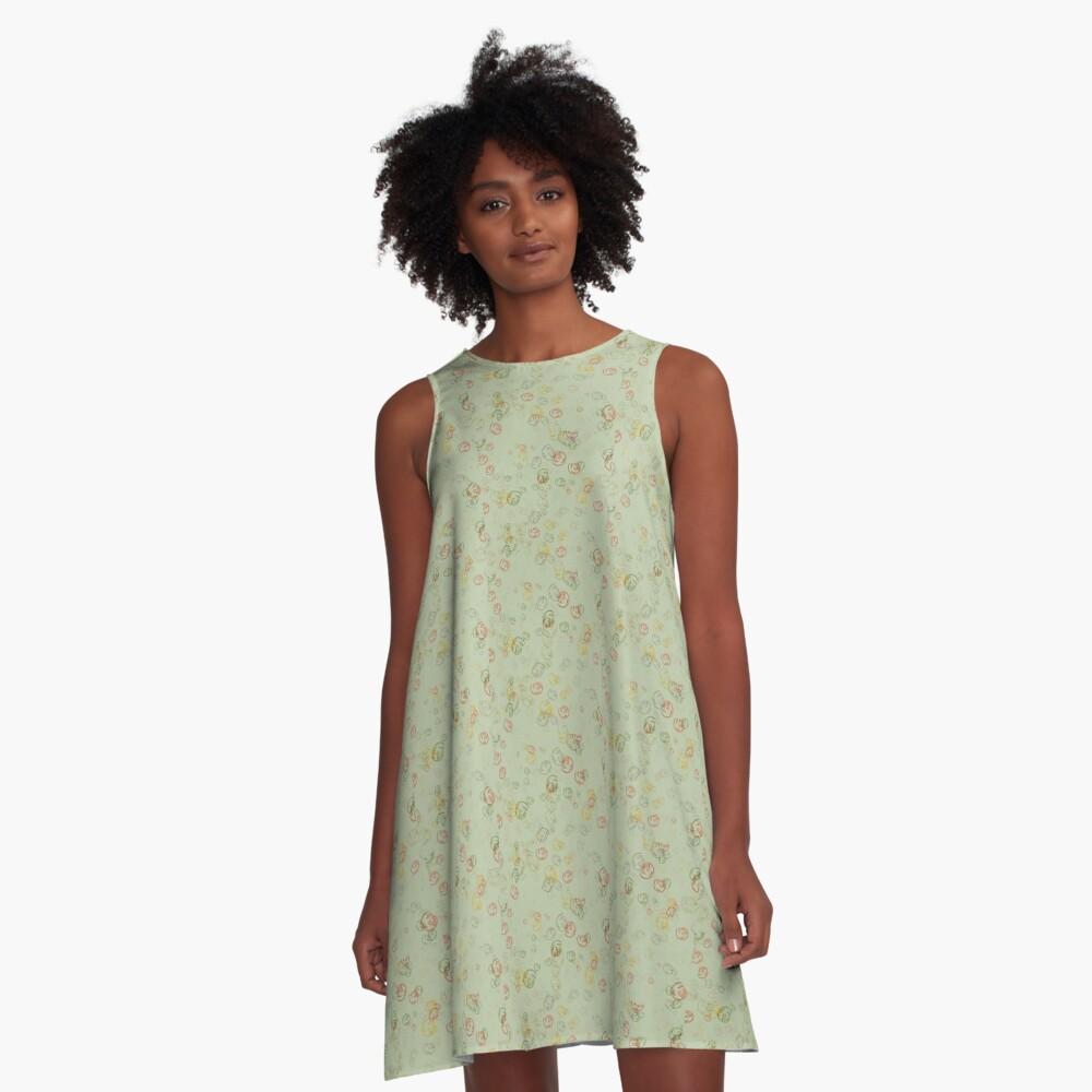 Vintage  Curls  in Sage  A-Line Dress