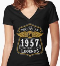 Life Begins At 60 1957 The Birth Of Legends Women's Fitted V-Neck T-Shirt