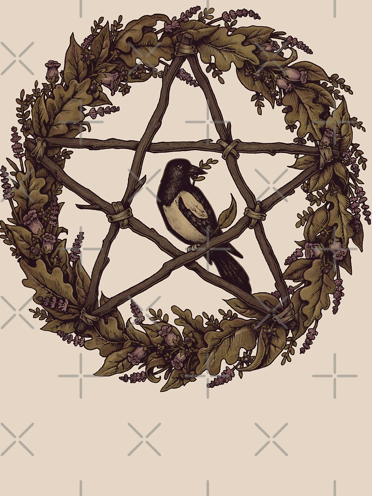 Botanical Pentacle Wreath Witch by medusadollmaker