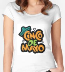 Cinco De Mayo hand drawn lettering design Women's Fitted Scoop T-Shirt