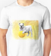 Bulldog Playing with Ball Watercolor Art Painting Unisex T-Shirt