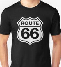 ROUTE 66 ROAD SIGN BLACK Slim Fit T-Shirt