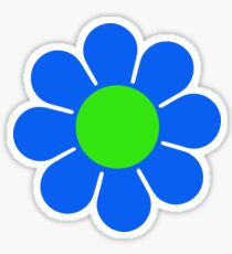 Blue Green Hippy Flower Daisy Sticker