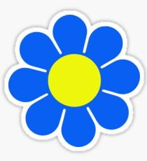 Blue Yellow Hippy Flower Daisy Sticker