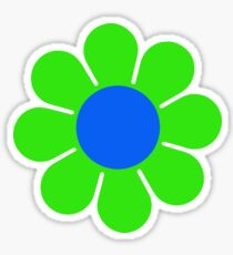 Green Blue Hippy Flower Daisy Sticker
