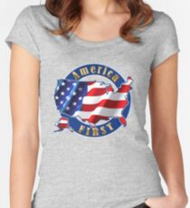 America First President Donald Trump Shirts Women's Fitted Scoop T-Shirt