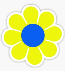 Yellow Blue Hippy Flower Daisy Sticker
