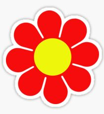 Red Yellow Hippy Flower Daisy Sticker