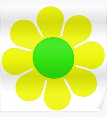Yellow Green Hippy Flower Daisy Poster