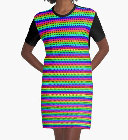 Rainbow Polka dots 004 Graphic T-Shirt Dress