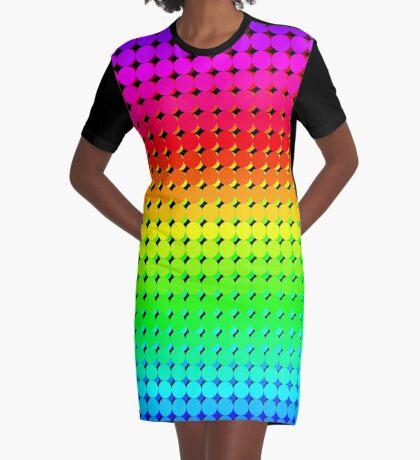 Rainbow Polka dots 006 Graphic T-Shirt Dress