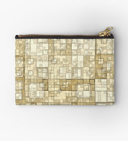 Squares of Taupe by Julie Everhart Zipper Pouch