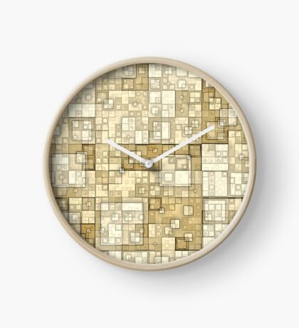 Squares of Taupe by Julie Everhart Clock