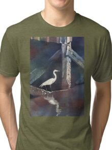 Watercolor painting of Heron- North Carolina Tri-blend T-Shirt