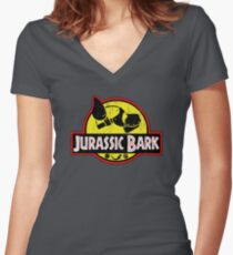Jurassic Bark (Distressed)  Women's Fitted V-Neck T-Shirt