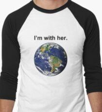Ich bin mit Mutter Erde Baseballshirt für Männer