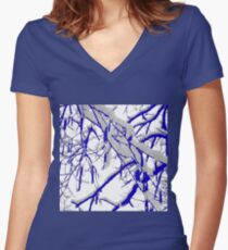 Blue Snow Branches Women's Fitted V-Neck T-Shirt