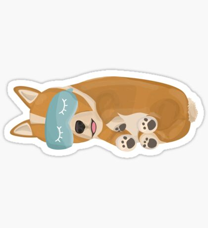 Napping Corgi Sticker