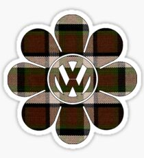 Hippy Flower Brown Plaid Volkswagen Westfalia Sticker