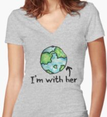 I'm with her mother earth day Women's Fitted V-Neck T-Shirt