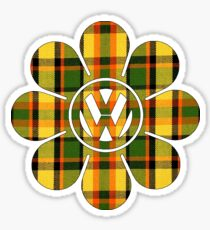 Hippy Flower Yellow Plaid Volkswagen Westfalia Sticker