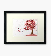 Love Heart Valentine Tree Framed Print
