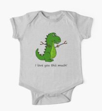 T-Rex Dinosaur with Grabbers - I love you this much! One Piece - Short Sleeve