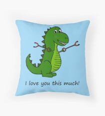 T-Rex Dinosaur with Grabbers - I love you this much! Throw Pillow