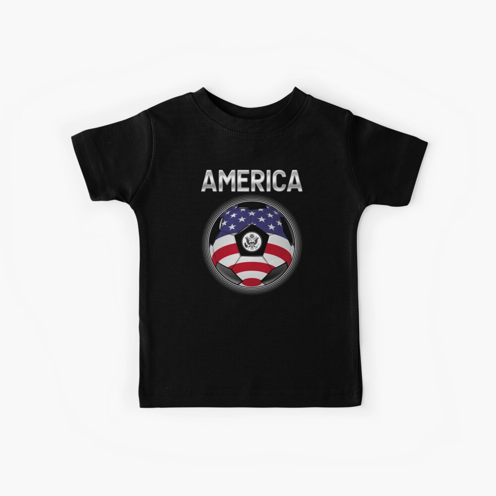 America - American Flag - Football or Soccer Ball & Text Kinder T-Shirt