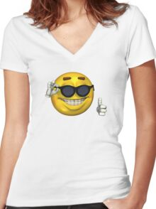 Ironic Meme Smiley Face With Sunglasses Women's Fitted V-Neck T-Shirt