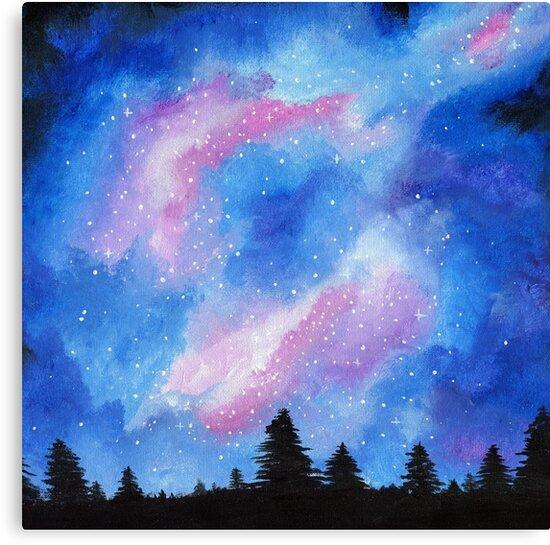 galaxy painting canvas prints by jen aranyi redbubble