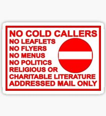No Junk Mail or Cold Callers Sticker