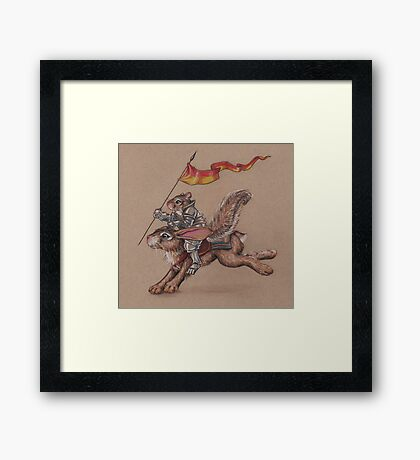 Squirrel in Shining Armor with trusted Bunny Steed  Framed Print
