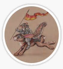 Squirrel in Shining Armor with trusted Bunny Steed  Sticker