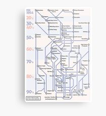 Youth SubCultures of the 20th Century Map Metal Print