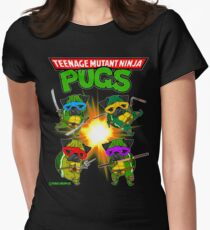 Teenage Mutant Ninja Pugs Womens Fitted T-Shirt