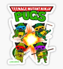 Teenage Mutant Ninja Pugs Sticker