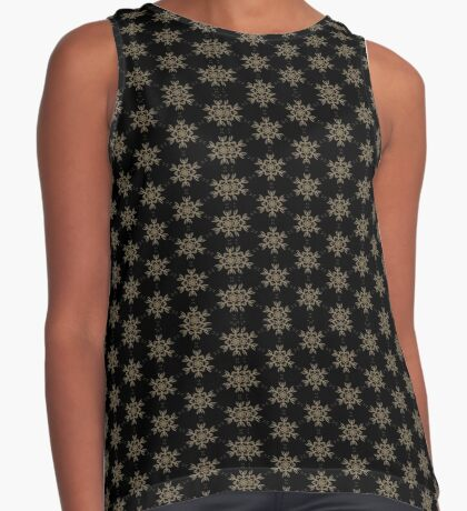 Black with Taupe Design by Julie Everhart Sleeveless Top
