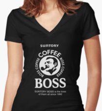 suntory boss coffee Women's Fitted V-Neck T-Shirt