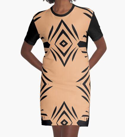 Peachy Tan with Black Stripes Graphic T-Shirt Dress
