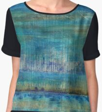 Blue Painting Women's Chiffon Top
