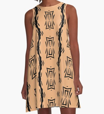 Peachy Tan with Black Stripes 2 by Julie Everhart A-Line Dress