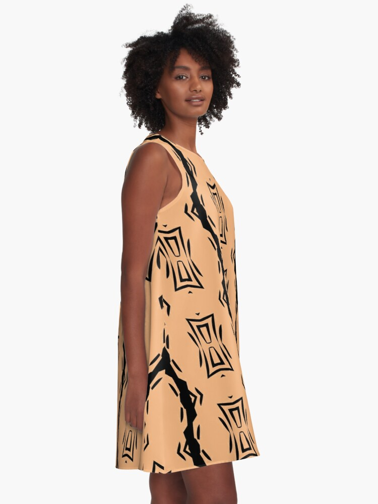 Alternate view of Peachy Tan with Black Stripes 2 by Julie Everhart A-Line Dress