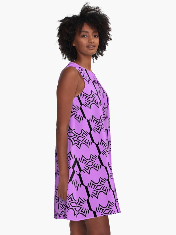 Alternate view of Lavender and Black Design by Julie Everhart A-Line Dress